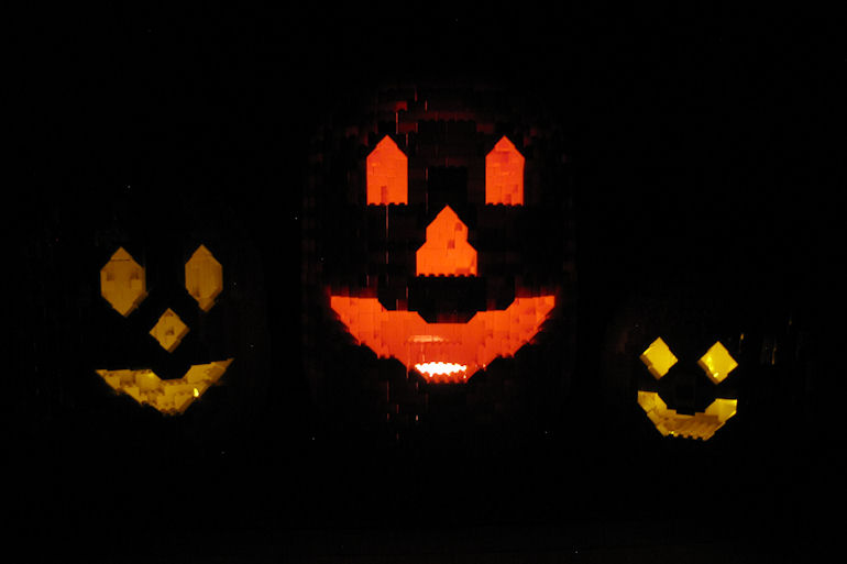 LEGO Jack O'Lanterns in a dark room