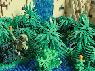 Jungle with Raptor and Waterfall