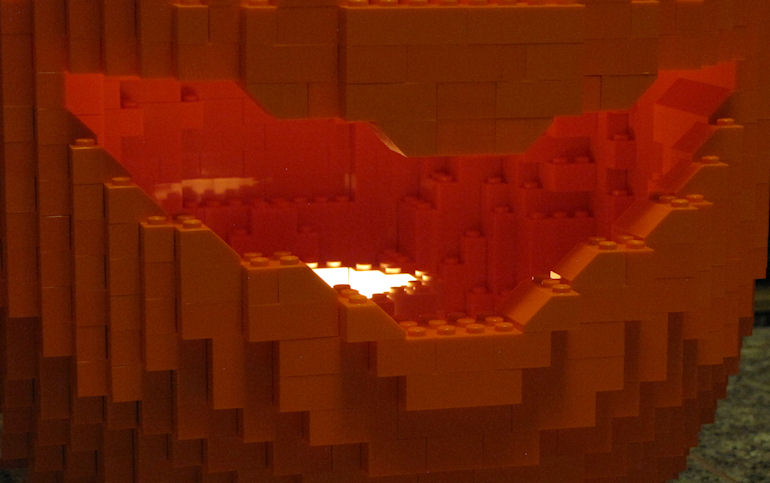 Large LEGO Jack O'Lantern mouth close-up